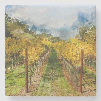 Rows of Grapevines in Napa Valley California Stone Coaster
