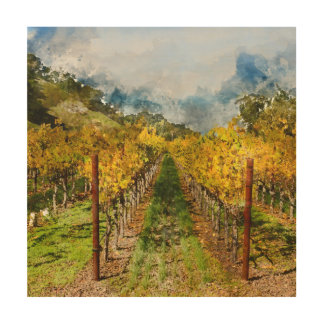 Rows of Grapevines in Napa Valley California Wood Wall Art