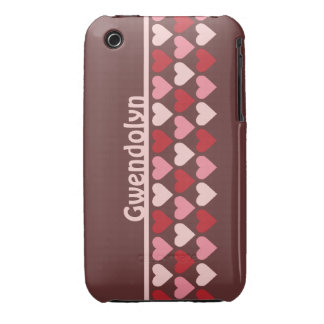 Rows of hearts pattern red pink personalized name iPhone 3 cover