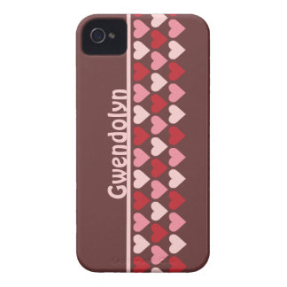 Rows of hearts pattern red pink personalized name iPhone 4 Case-Mate case