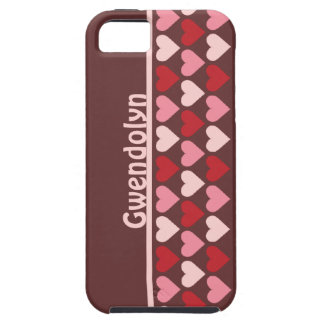Rows of hearts pattern red pink personalized name iPhone 5 cover