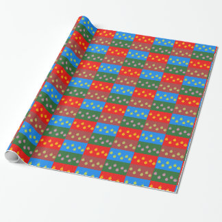 Rows of little multicolored Christmas baubles Wrapping Paper