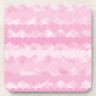 Rows of Pink Hearts Pattern on Pink Cloudy Design Drink Coaster