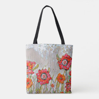 Rows of poppies- Design 1 tote