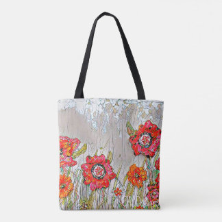 Rows of Poppies tote- Design 1 Tote Bag