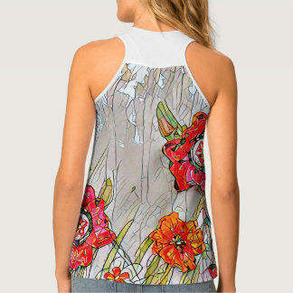 Rows of Poppies woman's tank- Design 1 Singlet