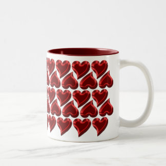 Rows of Shiny Red Valentine Hearts Two-Tone Mug