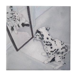 Roxie the Dalmatian Small Square Tile
