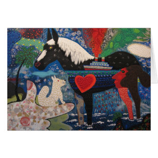 Roy De Forest A Coasting Horse 1976 Painting Card