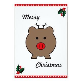 Roy the Christmas Pig 13 Cm X 18 Cm Invitation Card