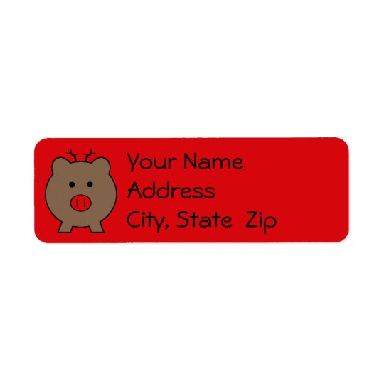 Roy the Christmas Pig Return Address Label