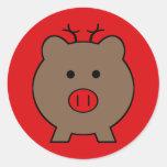 Roy the Christmas Pig Round Sticker