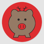 Roy the Christmas Pig Round Stickers