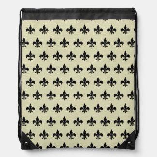 ROYAL1 BLACK MARBLE & BEIGE LINEN DRAWSTRING BAG