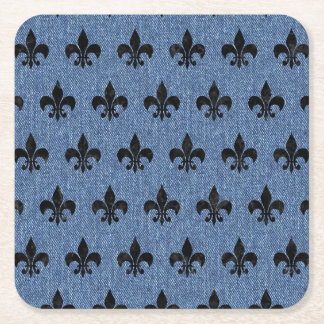 ROYAL1 BLACK MARBLE & BLUE DENIM SQUARE PAPER COASTER
