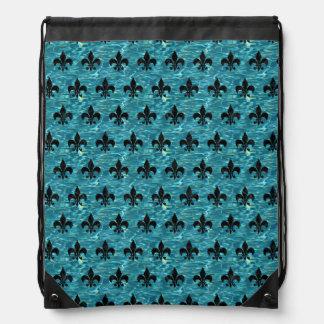 ROYAL1 BLACK MARBLE & BLUE-GREEN WATER DRAWSTRING BAG
