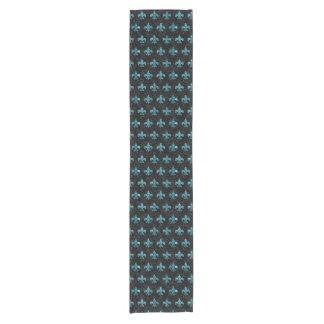 ROYAL1 BLACK MARBLE & BLUE-GREEN WATER (R) SHORT TABLE RUNNER