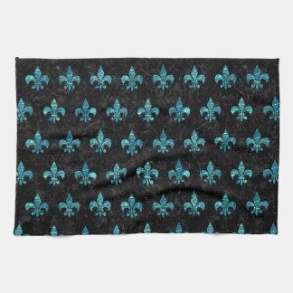 ROYAL1 BLACK MARBLE & BLUE-GREEN WATER (R) TEA TOWEL