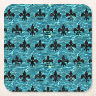 ROYAL1 BLACK MARBLE & BLUE-GREEN WATER SQUARE PAPER COASTER