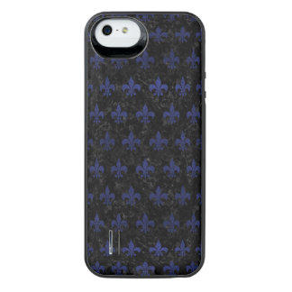ROYAL1 BLACK MARBLE & BLUE LEATHER (R) iPhone SE/5/5s BATTERY CASE