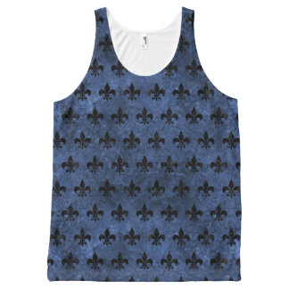 ROYAL1 BLACK MARBLE & BLUE STONE All-Over PRINT SINGLET