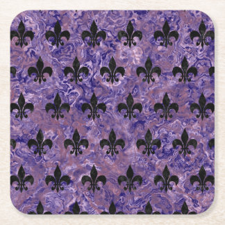 ROYAL1 BLACK MARBLE & PURPLE MARBLE SQUARE PAPER COASTER