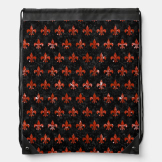 ROYAL1 BLACK MARBLE & RED MARBLE (R) DRAWSTRING BAG