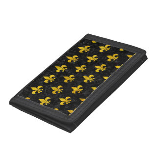 ROYAL1 BLACK MARBLE & YELLOW MARBLE (R) TRI-FOLD WALLET