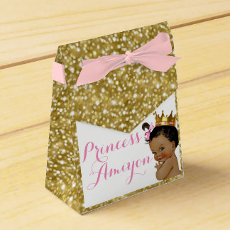 Royal African Princess Gold Glitter Party Favors Favour Box