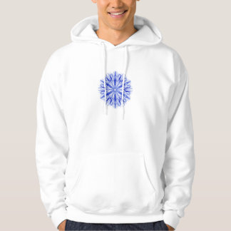Royal and Mid Blue Winter Snowflake Fractal Hoodie