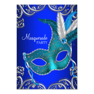 Royal and Teal Blue Masquerade Party Card