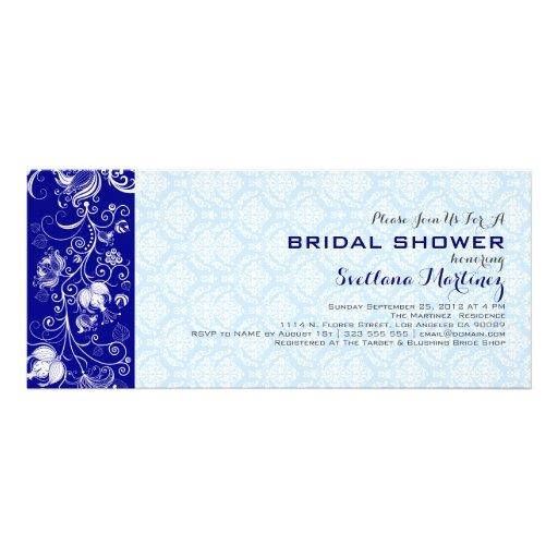 Royal & Baby Blue Damasks & Lace Bridal Shower Custom Invites