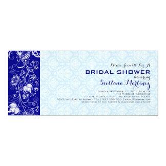 Royal & Baby Blue Damasks & Lace Bridal Shower 4x9.25 Paper Invitation Card
