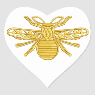 royal bee, imitation of embroidery heart sticker