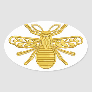 royal bee, imitation of embroidery oval sticker