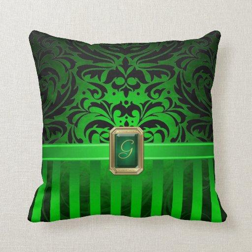 Royal Black Damask Green Pinstripe Faux Jewel Pillows