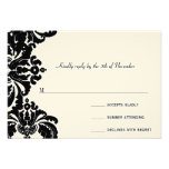 Royal Black Damask Wedding RSVP Personalised Announcement