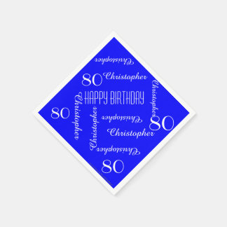 Royal Blue 80th Birthday Party Repeat Names, Paper Disposable Serviette