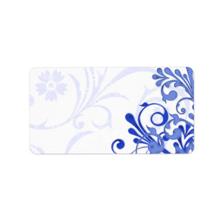Royal Blue Abstract Floral Wedding Blank Address Address Label