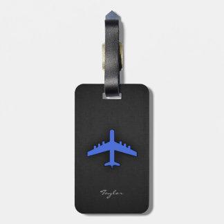 Royal Blue Airplane Luggage Tag