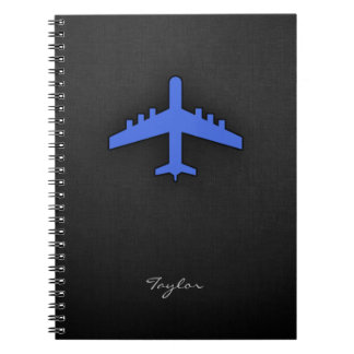 Royal Blue Airplane Spiral Notebooks