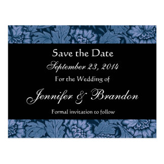 Royal Blue and Black Damask Save The Date Postcard