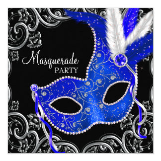 Royal Blue and Black Masquerade Party 13 Cm X 13 Cm Square Invitation Card