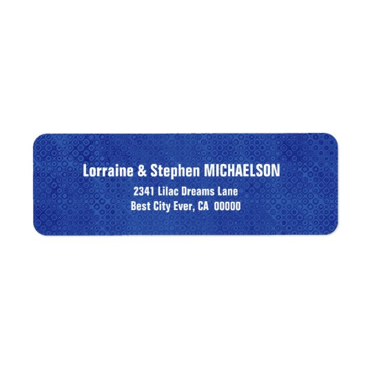 Royal Blue and Black Modern Op Art Dots S317 Return Address Label