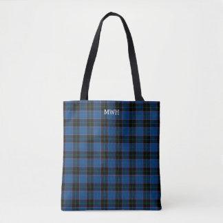 Royal Blue and Black Plaid Hume Tartan Monogram Tote Bag
