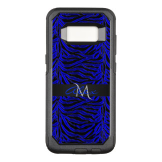 Royal Blue and Black Striped Animal Monogram OtterBox Commuter Samsung Galaxy S8 Case