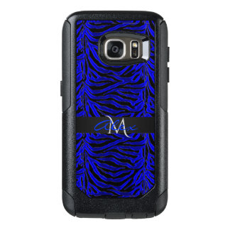 Royal Blue and Black Striped Animal Print Monogram OtterBox Samsung Galaxy S7 Case
