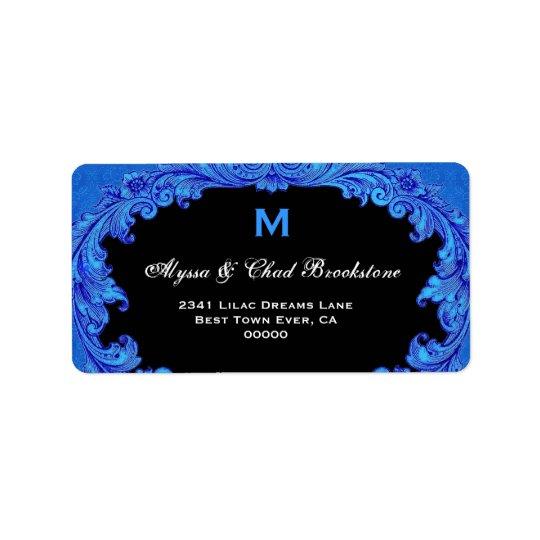 Royal Blue and Black Vintage Monogram G451 Address Label