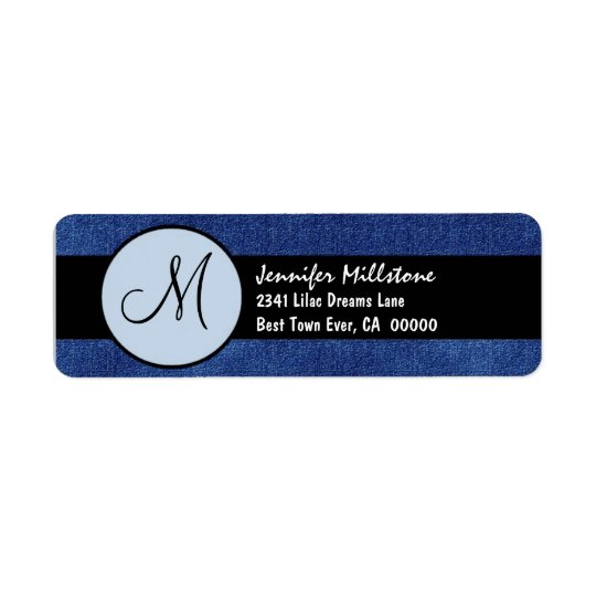 Royal Blue and Black Wedding Monogram Return Address Label