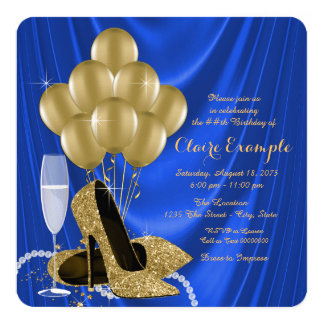 Royal Blue and Gold Birthday Party Glamorous Satin 13 Cm X 13 Cm Square Invitation Card